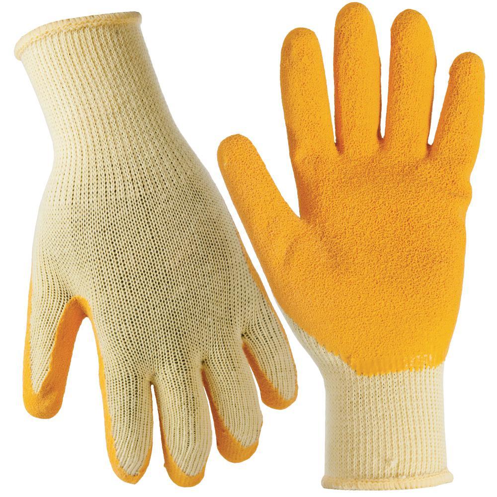 Medium Yellow General Purpose Latex Dip Gloves (3-Pack)