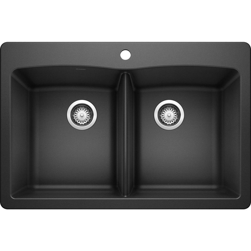 Blanco Diamond Dual Mount Granite Composite 33 In 1 Hole 50 Double Bowl Kitchen Sink Anthracite