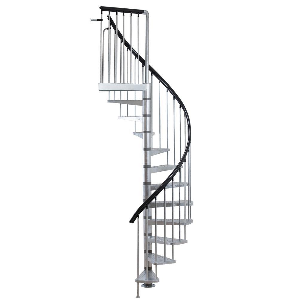 dolle toronto v3 9 ft  3 in  galvanized stair kit-68254
