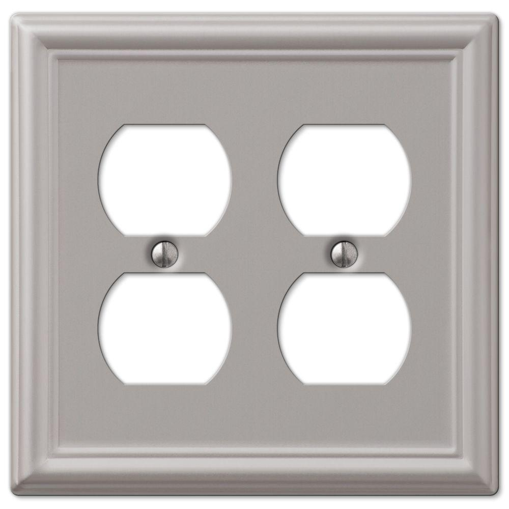 hampton bay chelsea 2 duplex wall plate brushed nickel 149ddbn the home depot. Black Bedroom Furniture Sets. Home Design Ideas