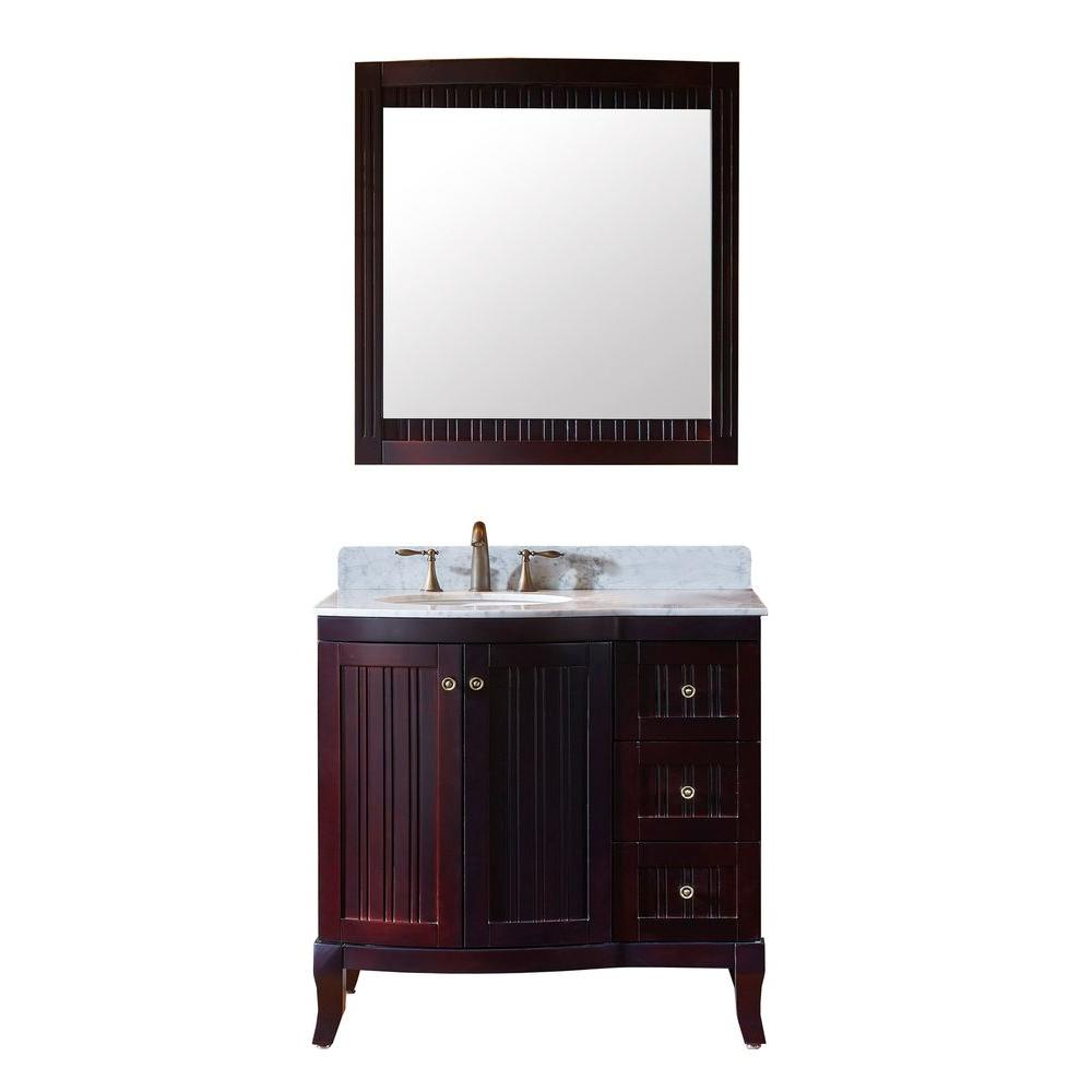 Virtu USA Khaleesi 36 in. W x 23.2 in. D x 35.24 in. H Espresso Vanity With Marble Vanity Top With White Round Basin and Mirror