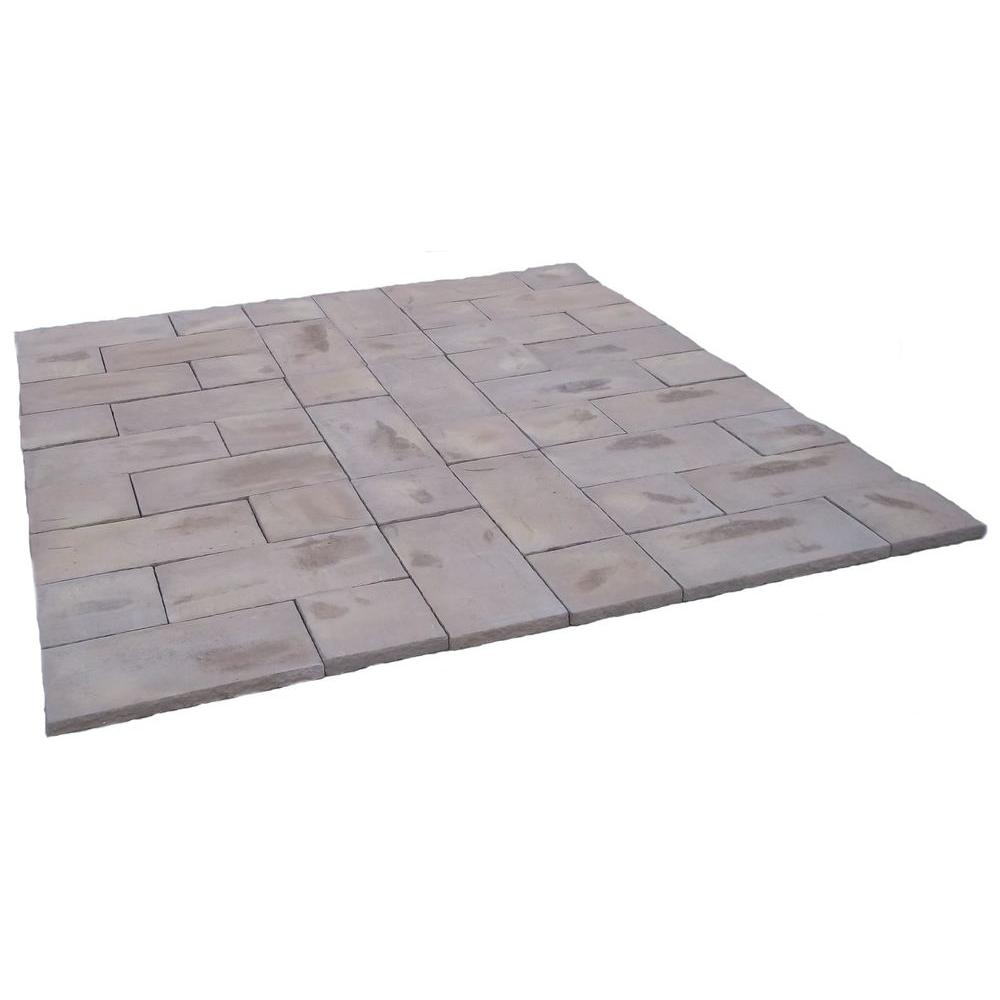 null 72 sq. ft. Concrete Rundle Stone Brown Paver Kit