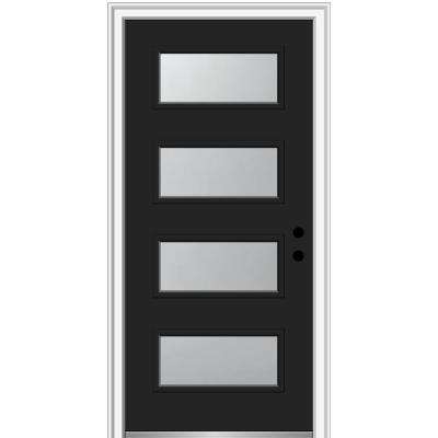 36 in. x 80 in. Celeste Left-Hand Inswing 4-Lite Frosted Painted Fiberglass Smooth Prehung Front Door 4-9/16 in. Frame