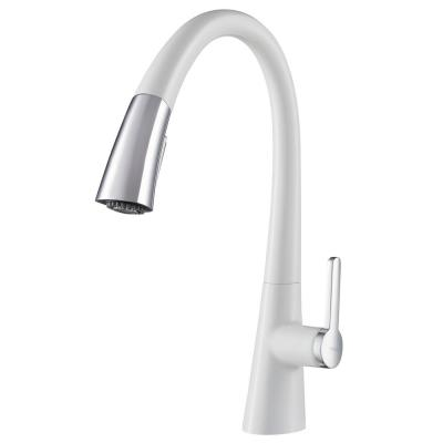 Nolen Single-Handle Pull-Down Sprayer Kitchen Faucet in Chrome and White