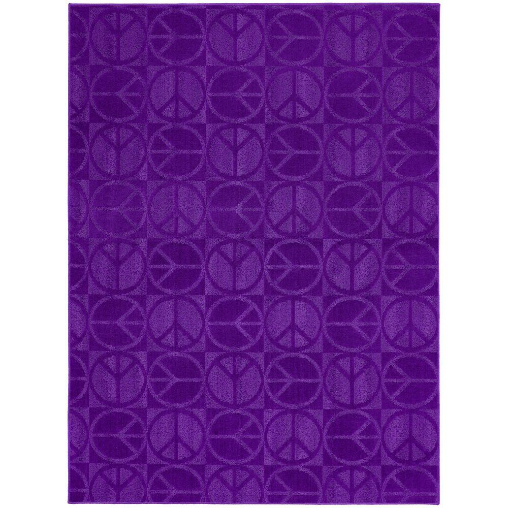 Garland Rug Large Peace Purple 7 ft. 6 in. x 9 ft. 6 in. Area Rug