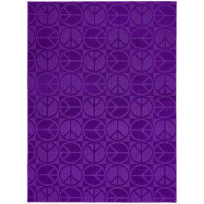 Large Peace Purple 8 ft. x 10 ft. Area Rug