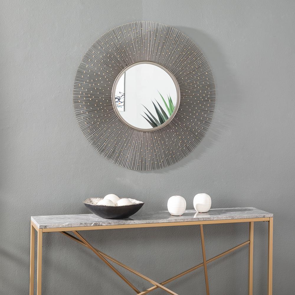 Collingdale Gunmetal Gray Round Decorative Mirror