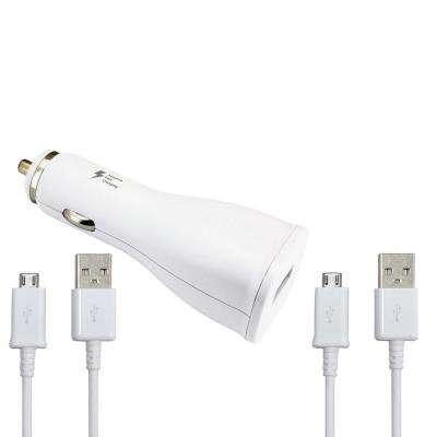 OEM Fast Charge Car Adapter with 5 ft. USB Charging Cable, White (2-Pack)