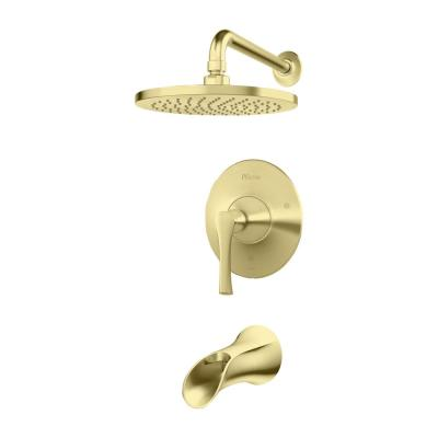 Rhen 1-Handle Tub and Shower Trim Kit in Brushed Gold (Valve Not Included)