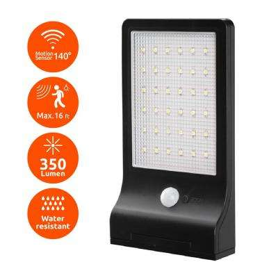 Modern Flat Panel Bright Black 350-Lumen Motion Activated Outdoor 6500K Solar Powered Landscape Flood Light