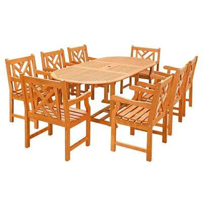 Eco-Friendly 9-Piece Wood Outdoor Dining Set with Oval Extension Table and Decorative Back Arm Chairs