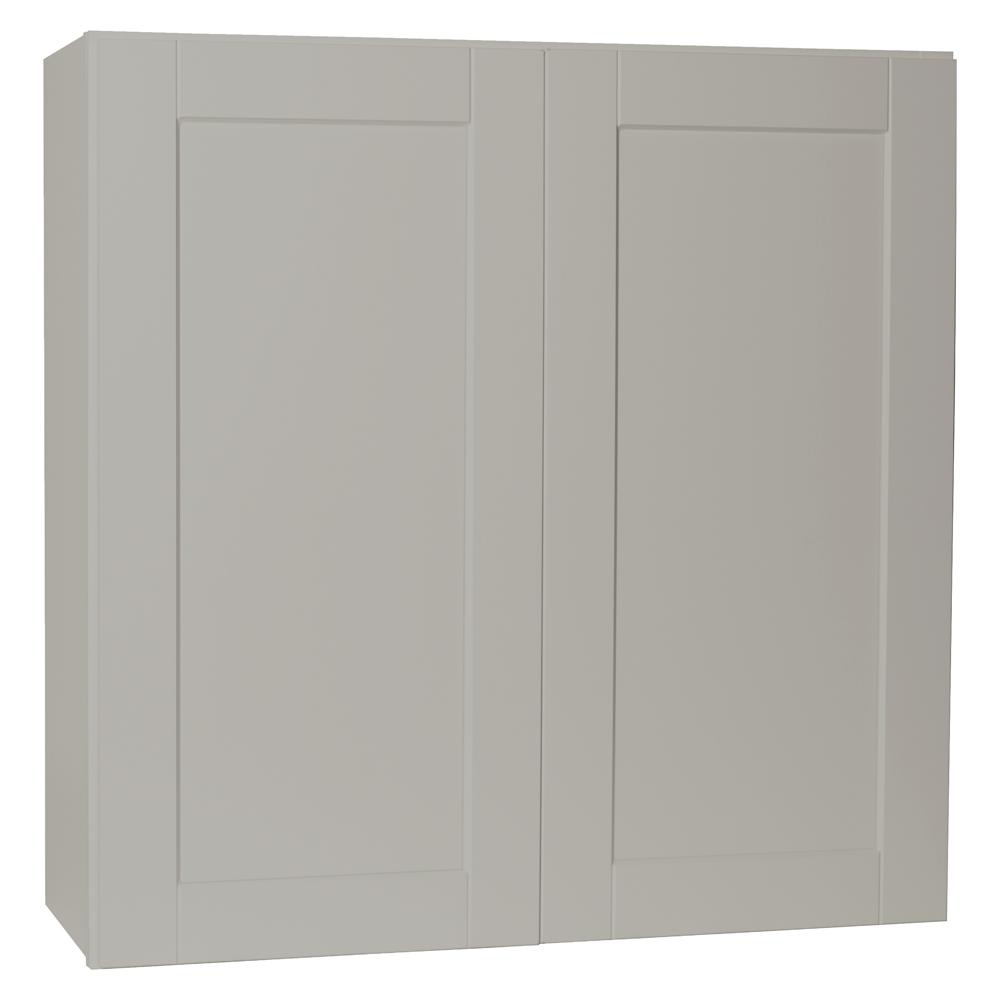 Hampton Bay Shaker Assembled 36x30x12 in. Wall Kitchen Cabinet in Dove Gray