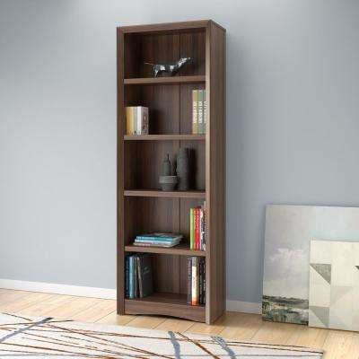 Quadra 71 in. Tall Walnut Faux Woodgrain Bookcase