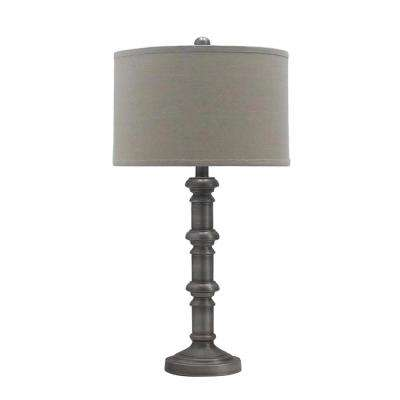 31 in. Antique Silver Metal Stacked Candlestick Table Lamp