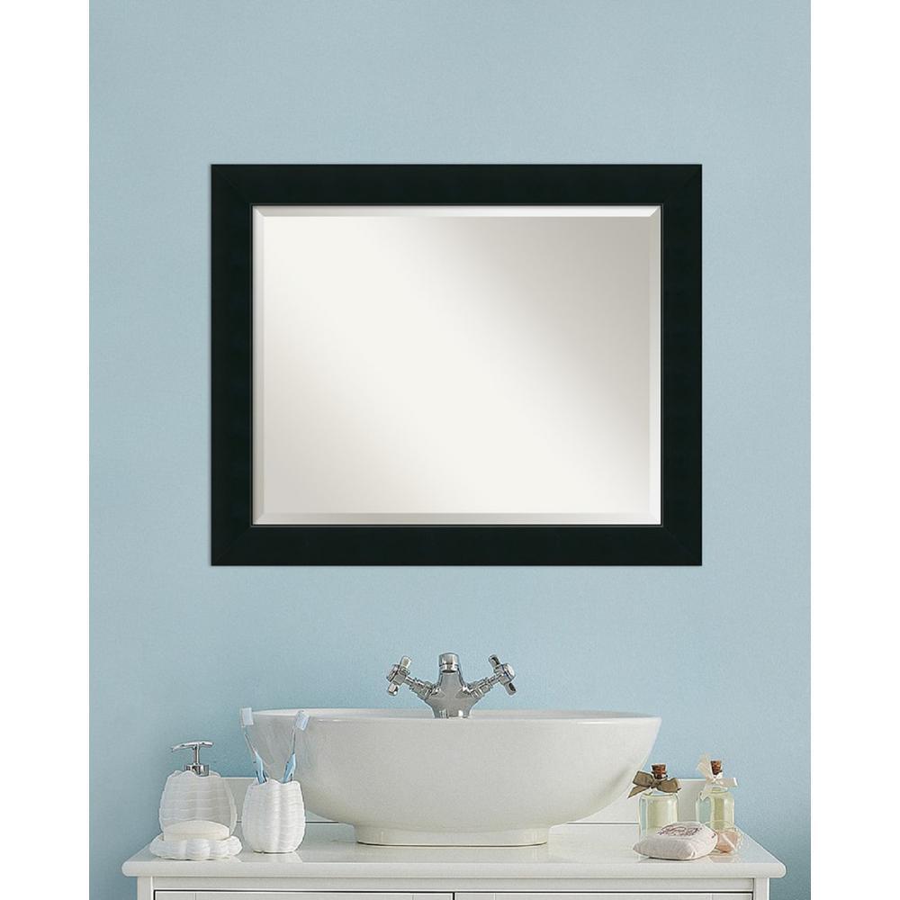 Medium Rectangle Black Contemporary Mirror (27.13 in. H x 33.13 in. W)
