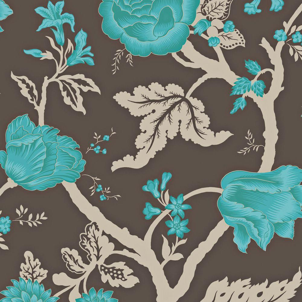 The Wallpaper Company 56 sq. ft. Mocha and Peacock Large Floral Trail Wallpaper
