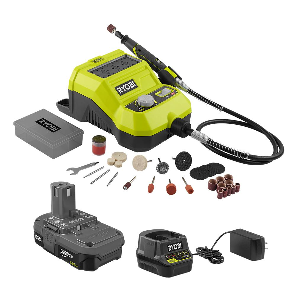 RYOBI 18-Volt ONE+ Lithium-Ion Cordless Rotary Tool Kit with 1.5 Ah Battery and 18-Volt Charger