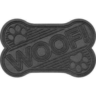 Charcoal 24 in. x 36 in. Woof Pet Mat