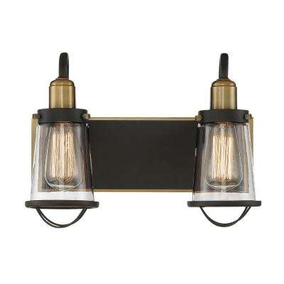 2-Light English Bronze and Warm Brass Bath Light with Clear Glass