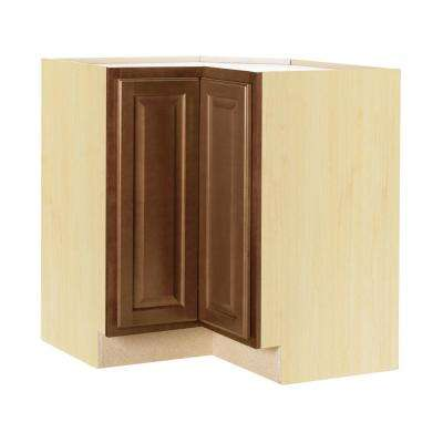 Hampton Bay Hampton Assembled 28.5x34.5x16.5 inch Lazy Susan Corner Base Kitchen Cabinet in Cognac by Hampton Bay