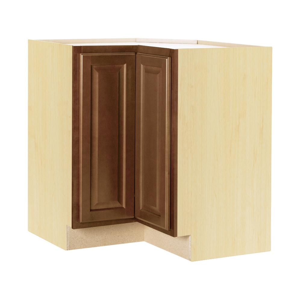 Hampton Bay Hampton Assembled 28.5x34.5x16.5 in. Lazy Susan Corner Base  Kitchen Cabinet in Cognac