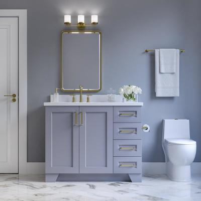 Taylor 43 in. W x 22 in. D Bath Vanity in Grey with Quartz Vanity Top in White with Left Offset White Rectangle Basin