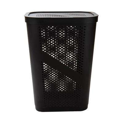 Brown Perforated Plastic Dirty Clothes 60 Liter Storage Basket with Lid