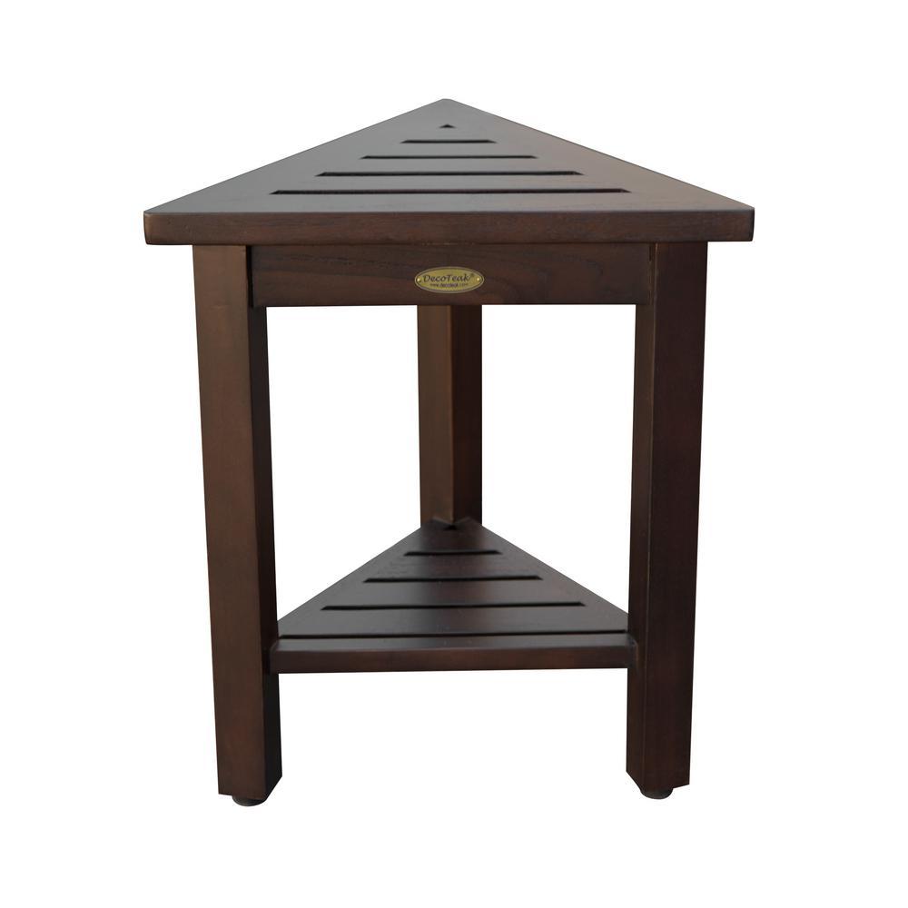 FlexiCorner Triangular Teak Modular Stool, Table with Shelf in Brown