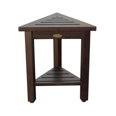 FlexiCorner Triangular Teak Modular Stool, Table with Shelf in Brown
