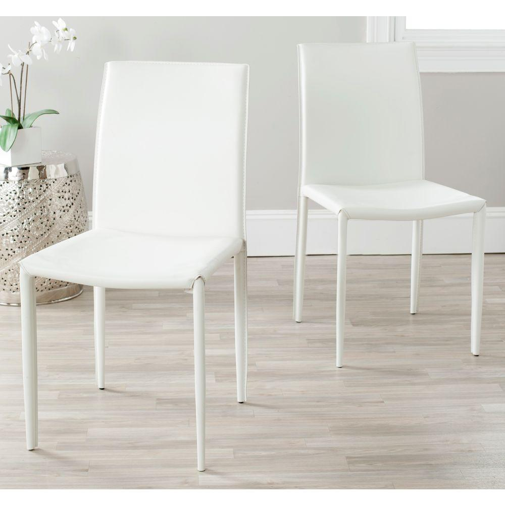 Safavieh karna white bonded leather dining chair fox2009a for White leather dining chairs