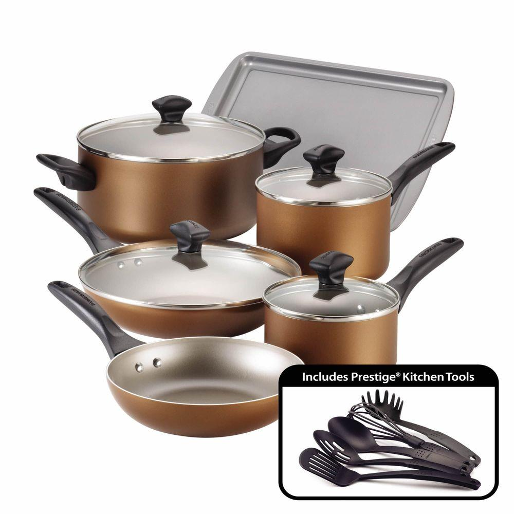 Farberware 15Piece Copper Cookware Set with Lids21890 The Home Depot