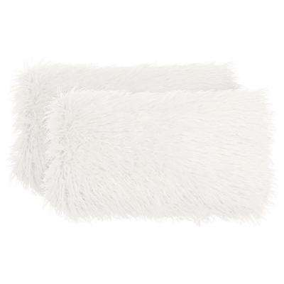 Mongolian Faux Fur White Decorative Lumbar Pillow Set (2-Piece)