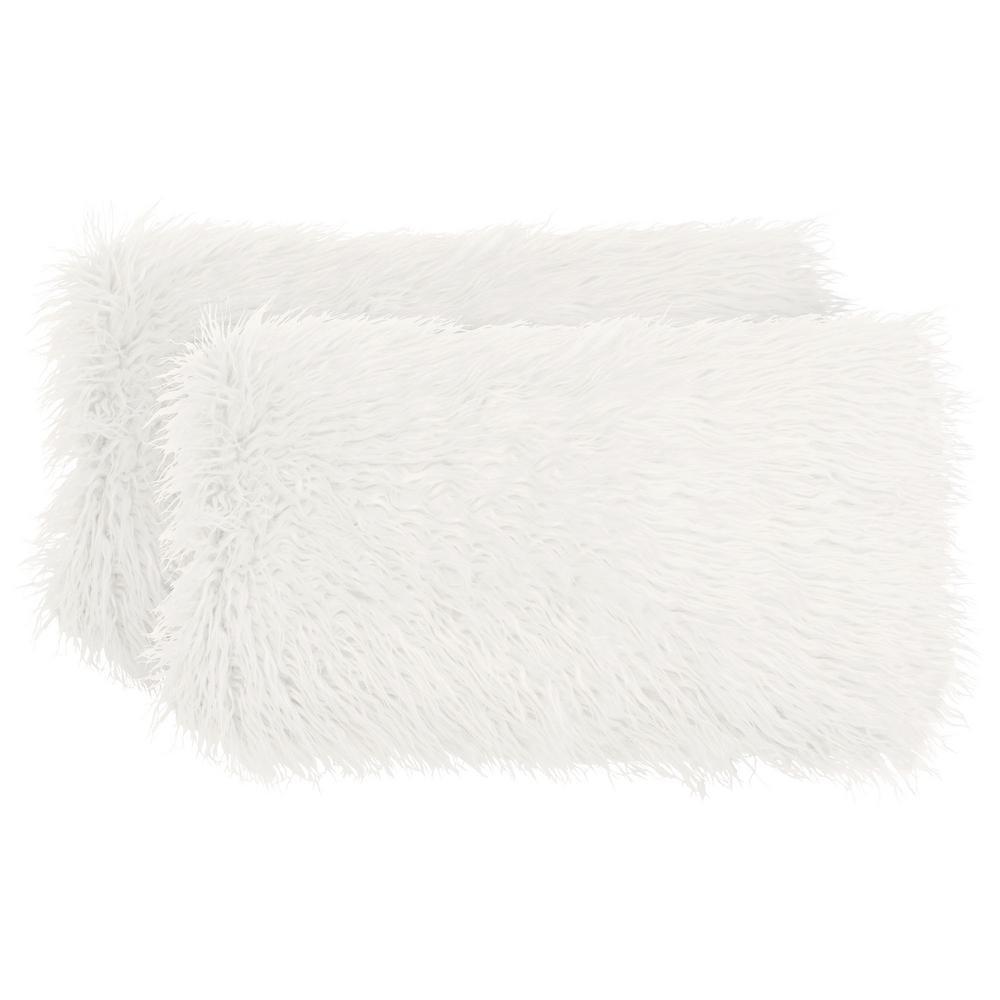 Mongolian Faux Fur White Decorative Lumbar Pillow Set (2-Piece)
