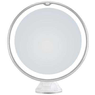 8.0 in. x 8.0 in. 10X Magnifying LED Lighted Makeup Mirror with Suction Cup