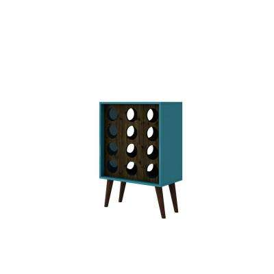 Lund 12-Bottle Aqua and Rustic Brown Wine Cabinet and Display
