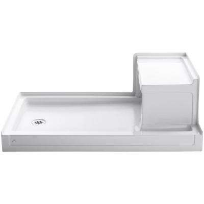 Tresham 60 in. x 36 in. Single Threshold Left-Hand Drain Shower Base with Integral Right-Hand Seat in White