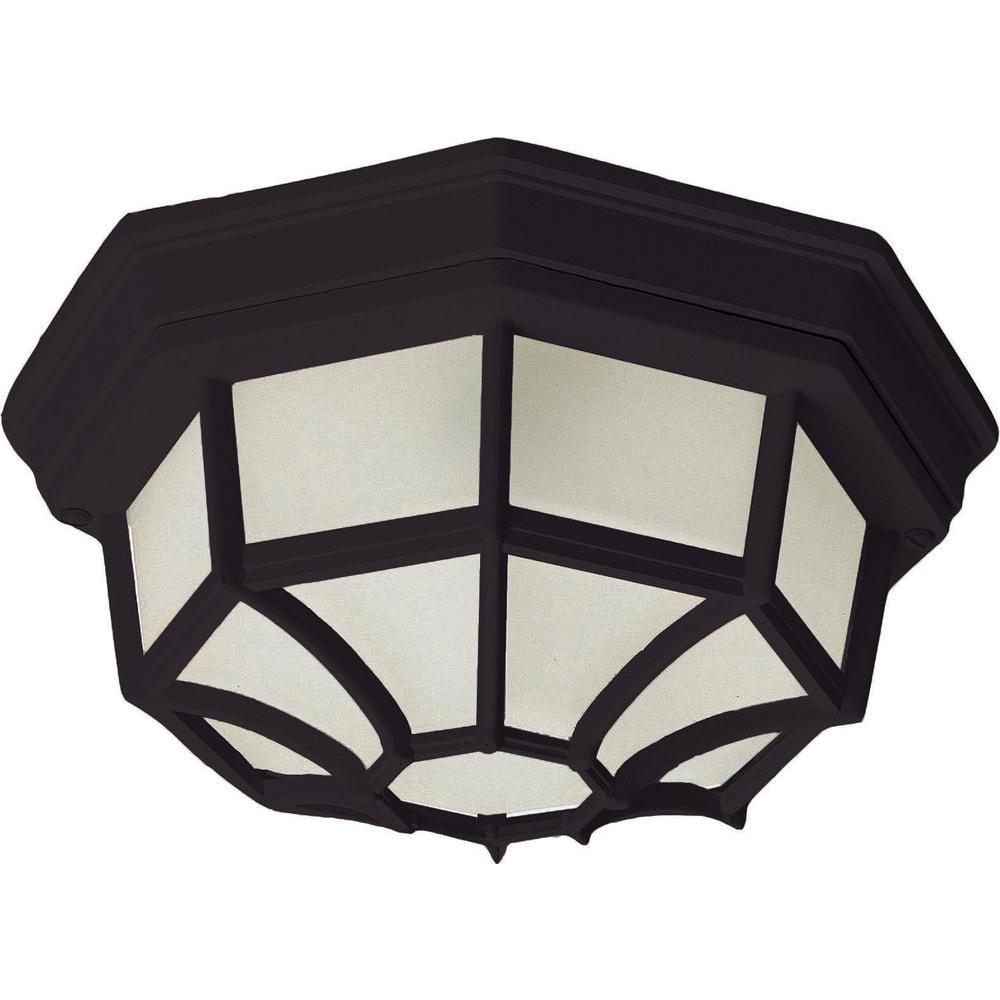 Crown Hill 2-Light Black Outdoor Flushmount