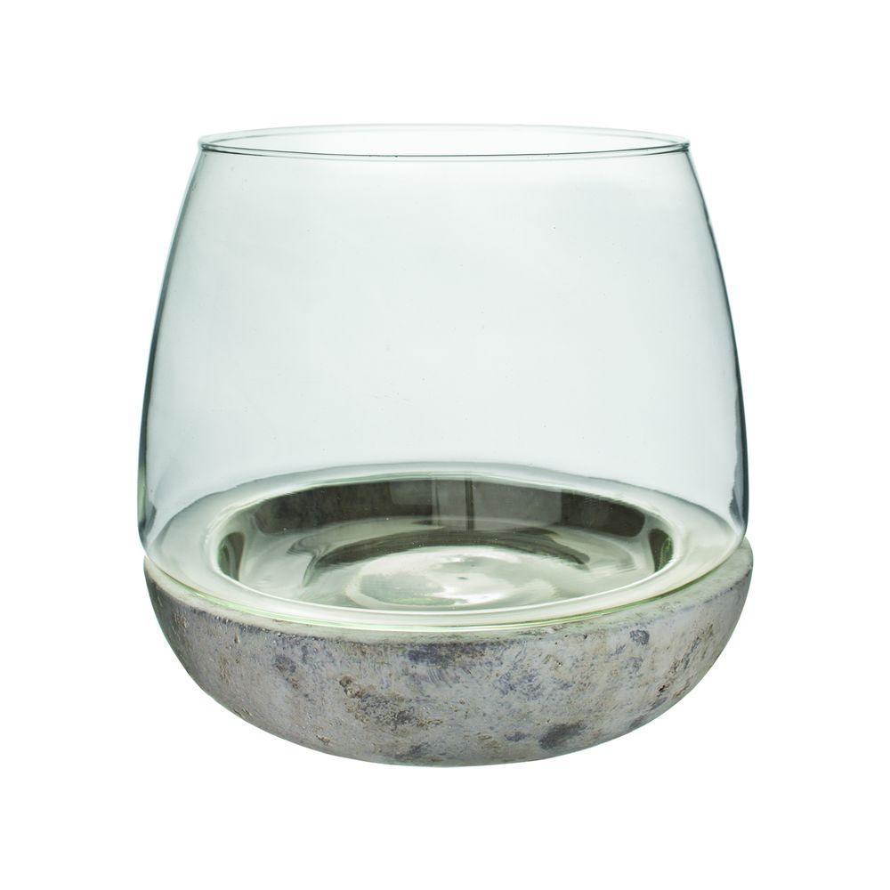 6-3/4 in. x 6 in. Cement/Glass Terrarium