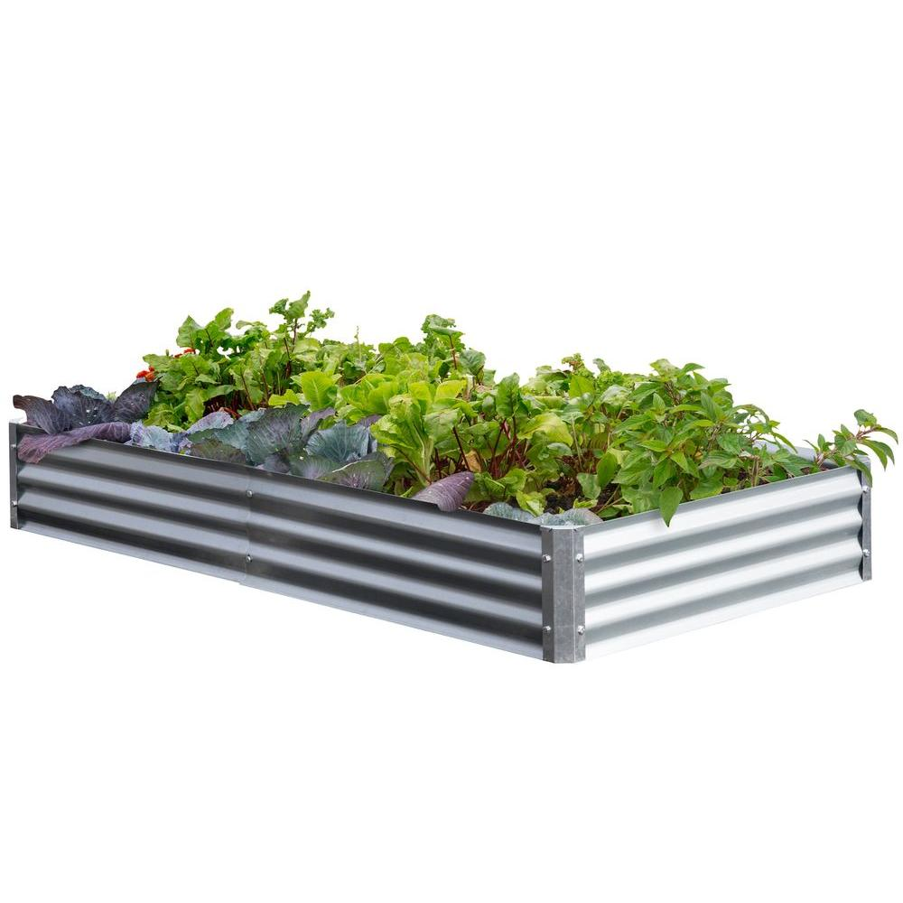 EarthMark Bajo Series 40 in x 76 in  x 10 in  Galvanized Metal Raised  Garden Bed Bundle