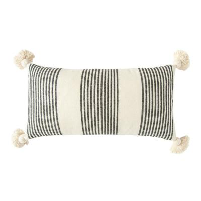 Black Striped Cotton and Chenille 27 in. x 14 in. Throw Pillow