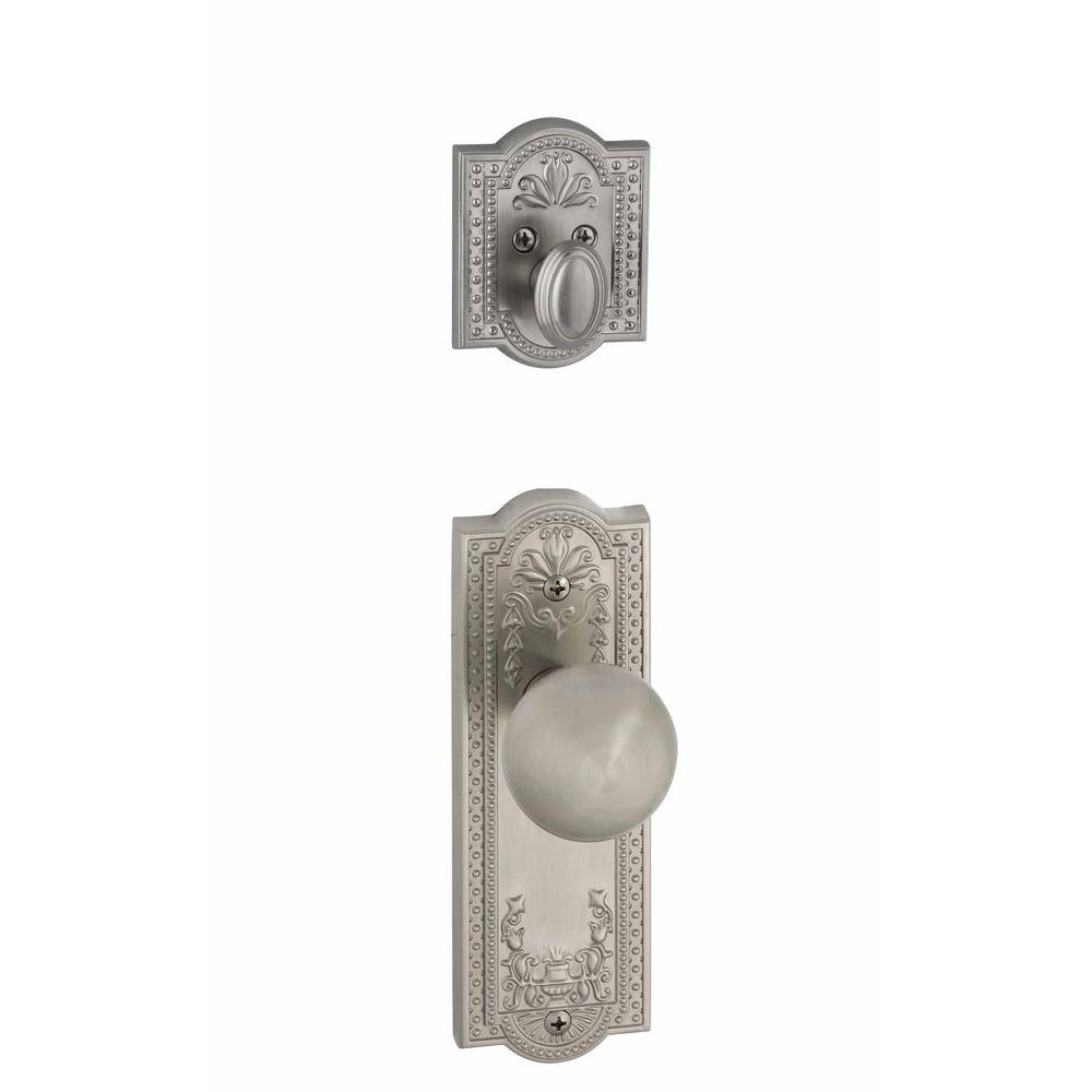 Grandeur Parthenon Single Cylinder Satin Nickel Combo Pack Keyed Differently with Fifth Avenue Knob and Matching Deadbolt