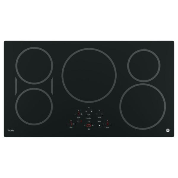 Profile 36 in. Electric Induction Cooktop in Black with 5 Elements and Exact Fit