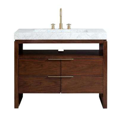 Giselle 43 in. W x 22 in. D x 35 in. H Bath Vanity in Walnut with Marble Integrated Vanity Top in Carrara White