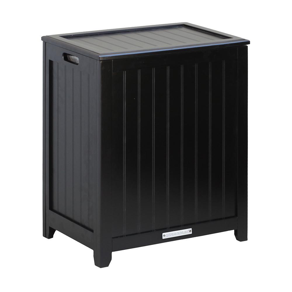 Oceanstar Dark Mahogany Wainscot Style Rectangular Laundry Hamper