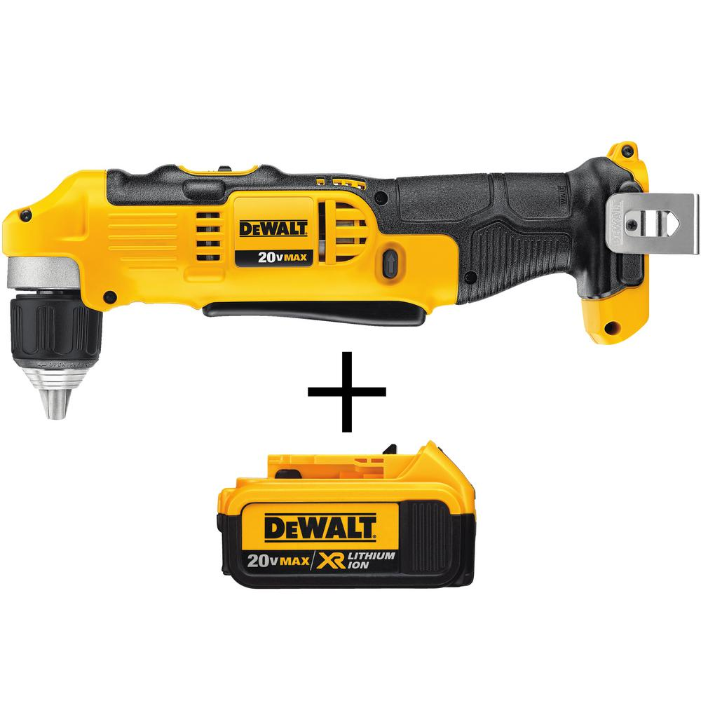 DEWALT 20-Volt MAX Lithium-Ion Cordless 3/8 in. Right Angle Drill (Tool-Only) with Free 20-Volt MAX Li-Ion Battery Pack 4.0 Ah