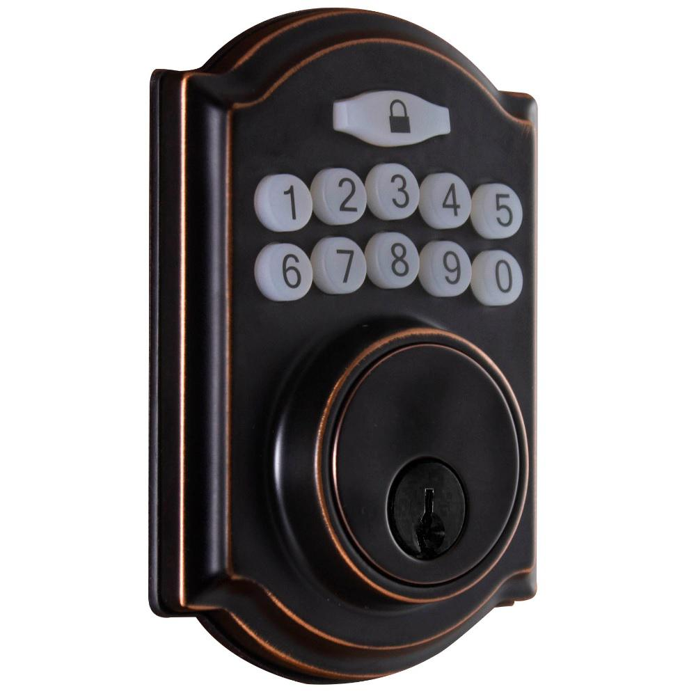 Castle Aged Bronze Single Cylinder Electronic Keypad Deadbolt