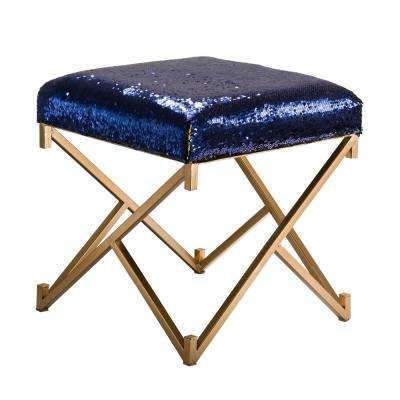 17.30 in. H Sapphire Blue and Gold Shimmering Sequin Stool with Metal Gold