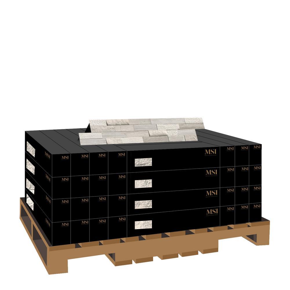 White Oak Splitface Ledger Panel 6 in. x 24 in. Multi-Finish Marble Wall Tile (10 cases / 60 sq. ft. / pallet)