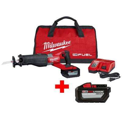 M18 FUEL 18-Volt Lithium-Ion Brushless Cordless Super Sawzall Reciprocating Saw Kit W/Free High Output 12.0Ah Battery