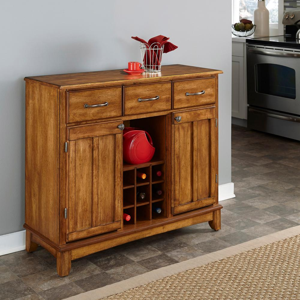 Home Styles Cottage Oak Buffet with Wine Storage